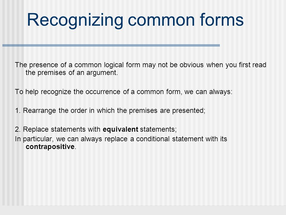 Recognizing common forms