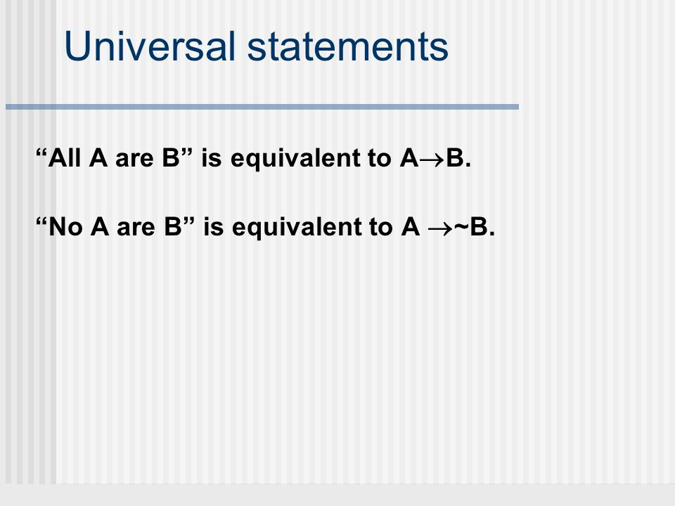 Universal statements All A are B is equivalent to AB.