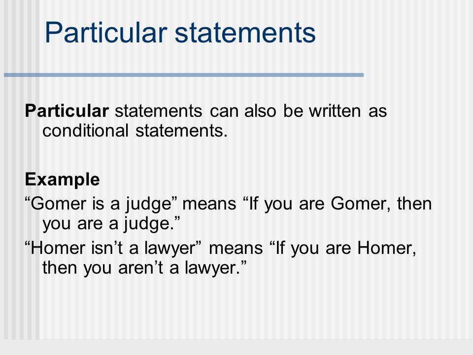 Particular statements