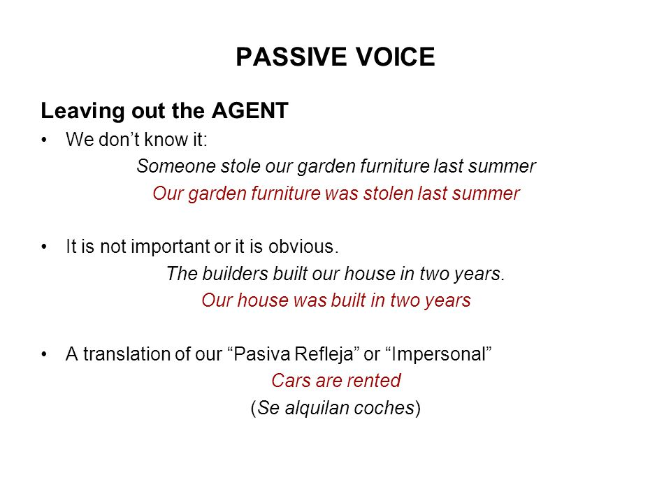 PASSIVE VOICE Leaving out the AGENT We don't know it: