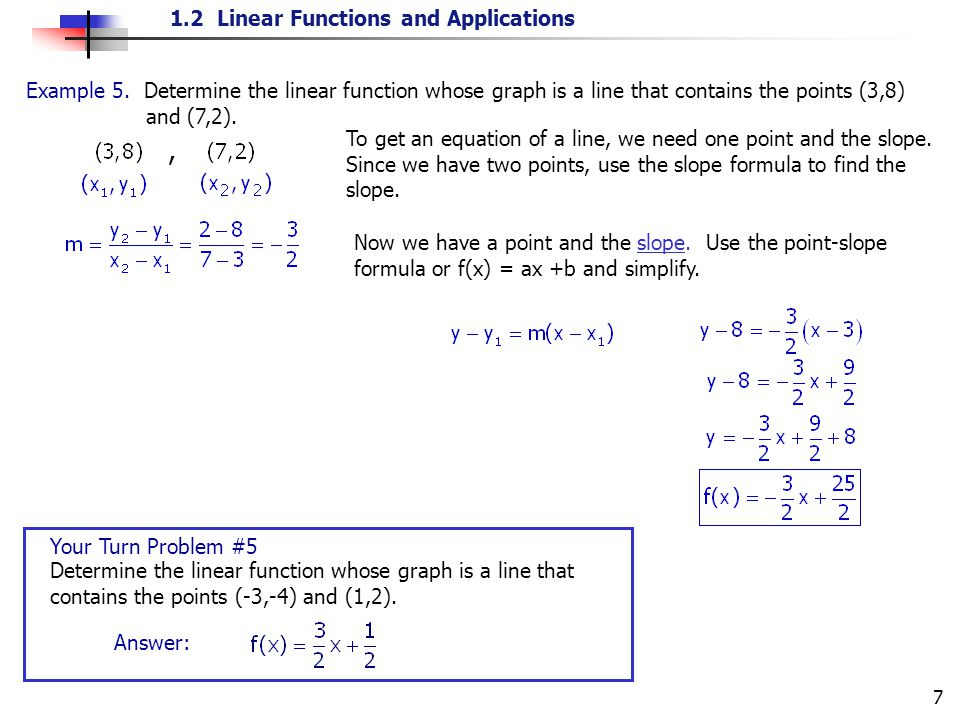 Example 5. Determine the linear function whose graph is a line that contains the points (3,8) and (7,2).