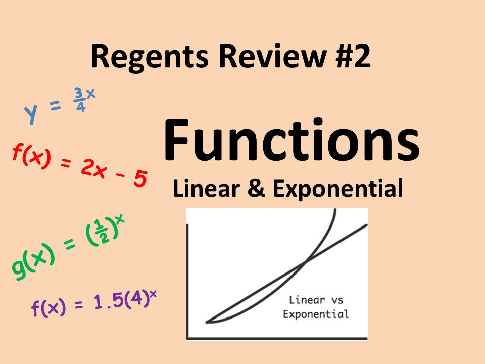 Functions Regents Review #2 Linear & Exponential y = ¾x g(x) = (½)x
