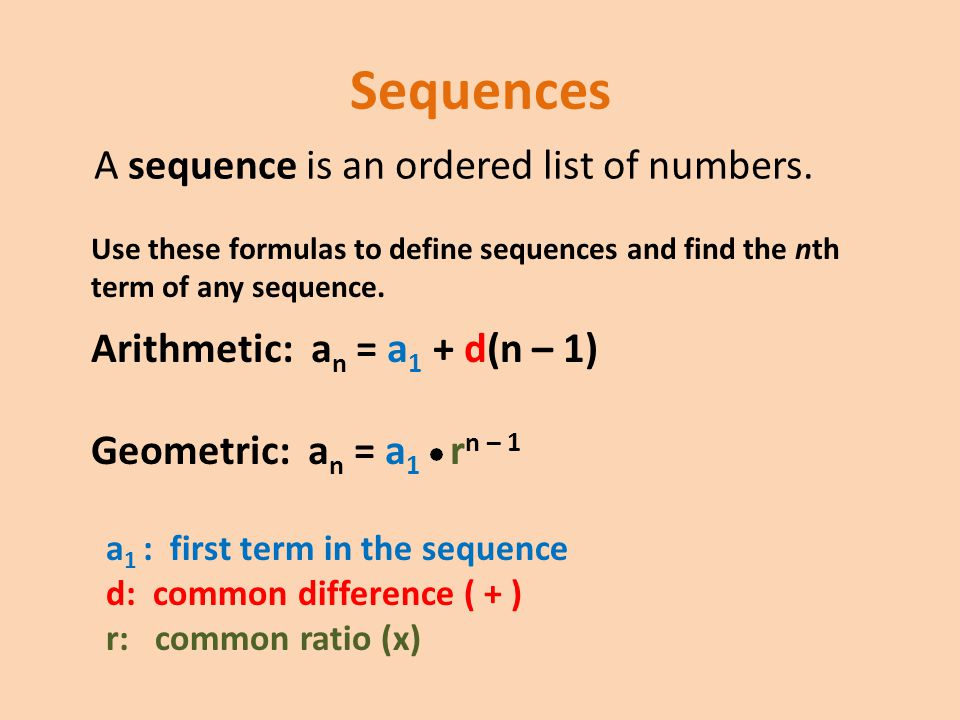Sequences A sequence is an ordered list of numbers.