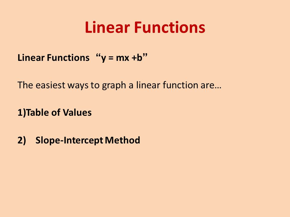 Linear Functions Linear Functions y = mx +b