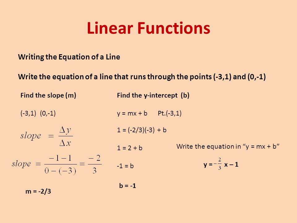 Linear Functions Writing the Equation of a Line Write the equation of a line that runs through the points (-3,1) and (0,-1)