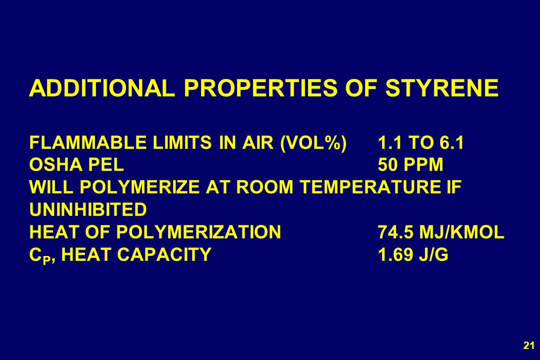 ADDITIONAL PROPERTIES OF STYRENE FLAMMABLE LIMITS IN AIR (VOL%). 1