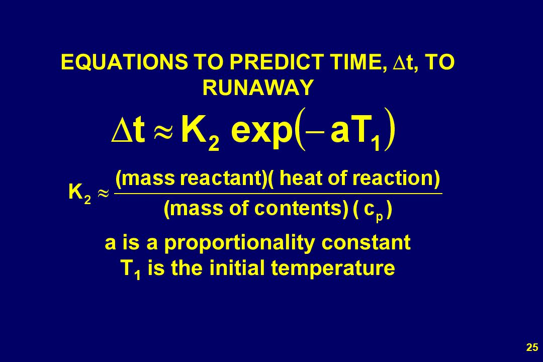 EQUATIONS TO PREDICT TIME, Dt, TO RUNAWAY a is a proportionality constant T1 is the initial temperature