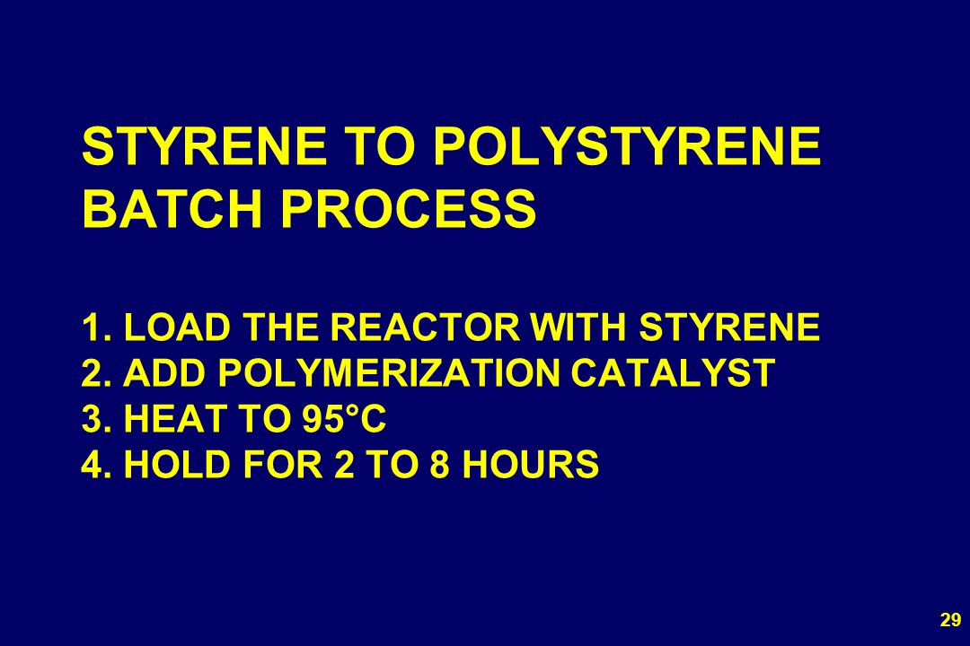 STYRENE TO POLYSTYRENE BATCH PROCESS 1. LOAD THE REACTOR WITH STYRENE 2.