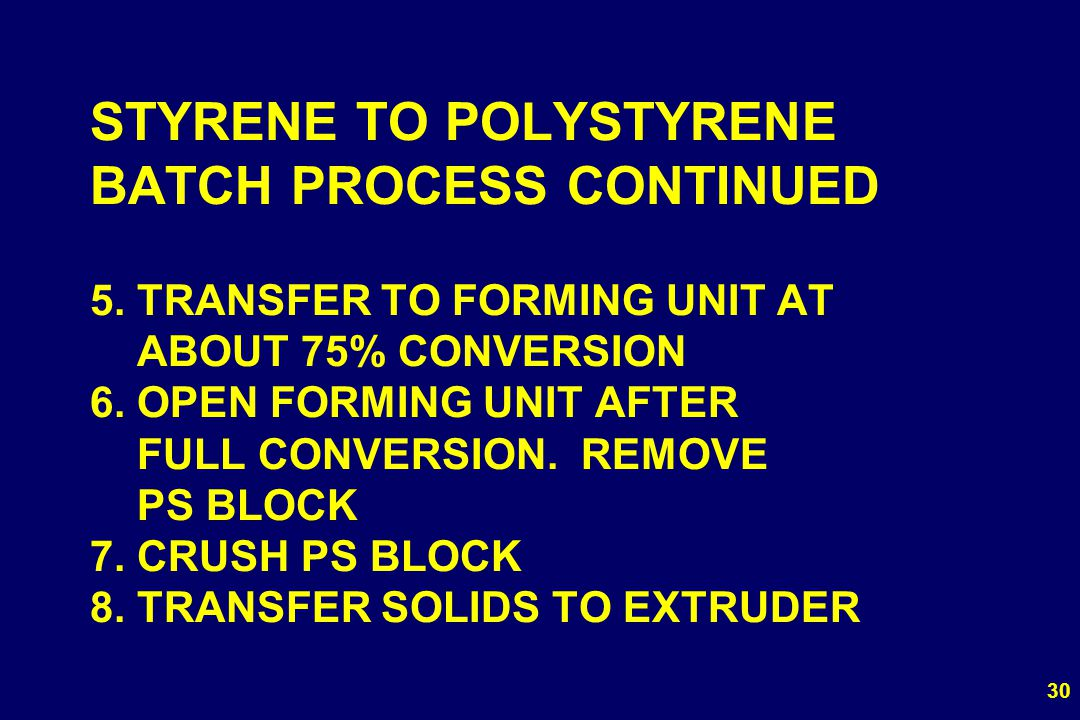 STYRENE TO POLYSTYRENE BATCH PROCESS CONTINUED 5