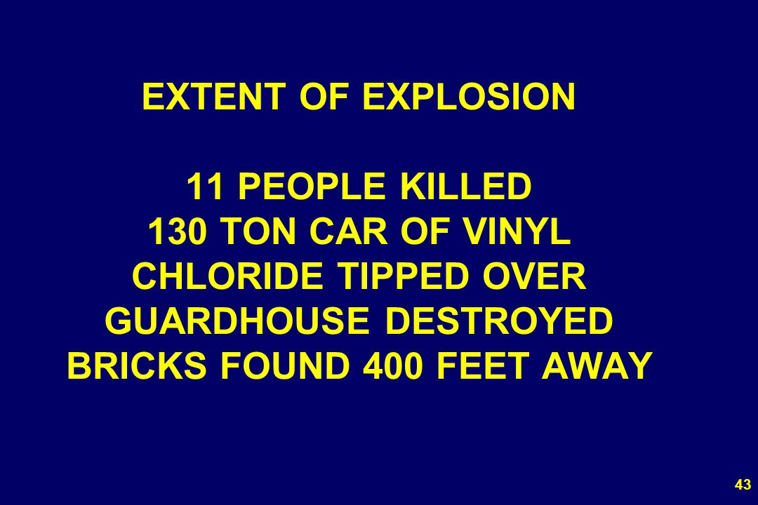 EXTENT OF EXPLOSION 11 PEOPLE KILLED 130 TON CAR OF VINYL CHLORIDE TIPPED OVER GUARDHOUSE DESTROYED BRICKS FOUND 400 FEET AWAY