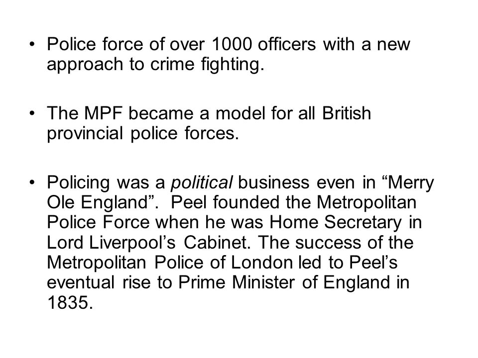 The MPF became a model for all British provincial police forces.