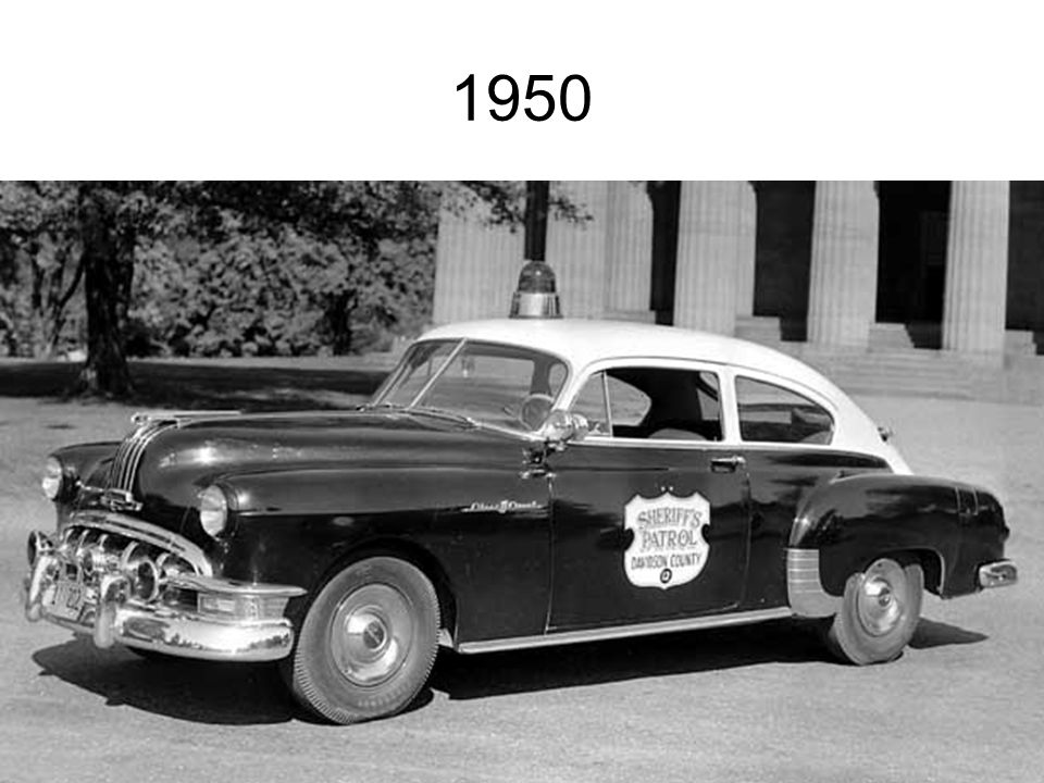 1950 Davidson County Sheriff's Patrol unit, a 1950 Pontiac Silver Streak, in front of the Parthenon.