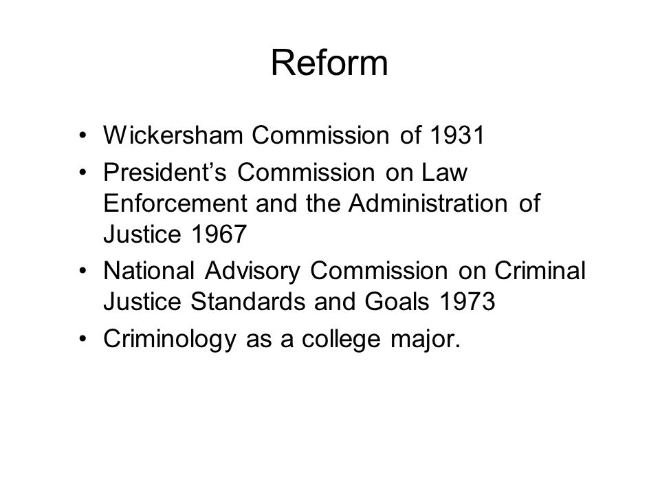 Reform Wickersham Commission of 1931