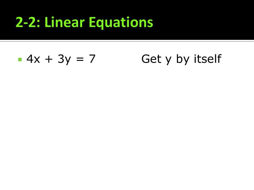 2-2: Linear Equations 4x + 3y = 7 Get y by itself