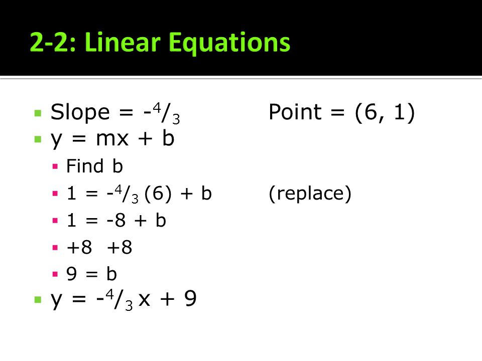 2-2: Linear Equations Slope = -4/3 Point = (6, 1) y = mx + b