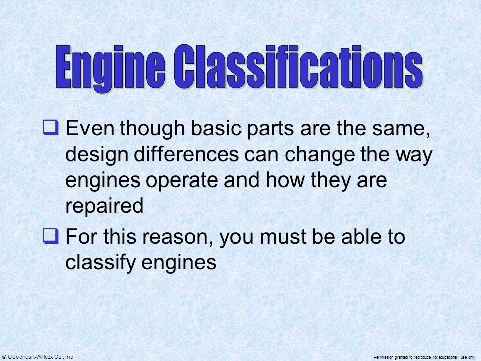 Engine Classifications