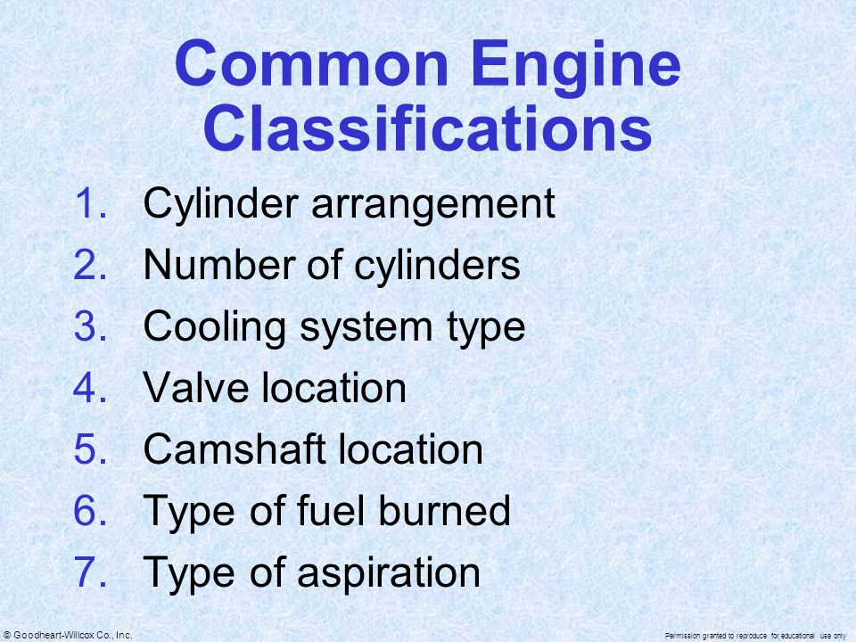 Common Engine Classifications