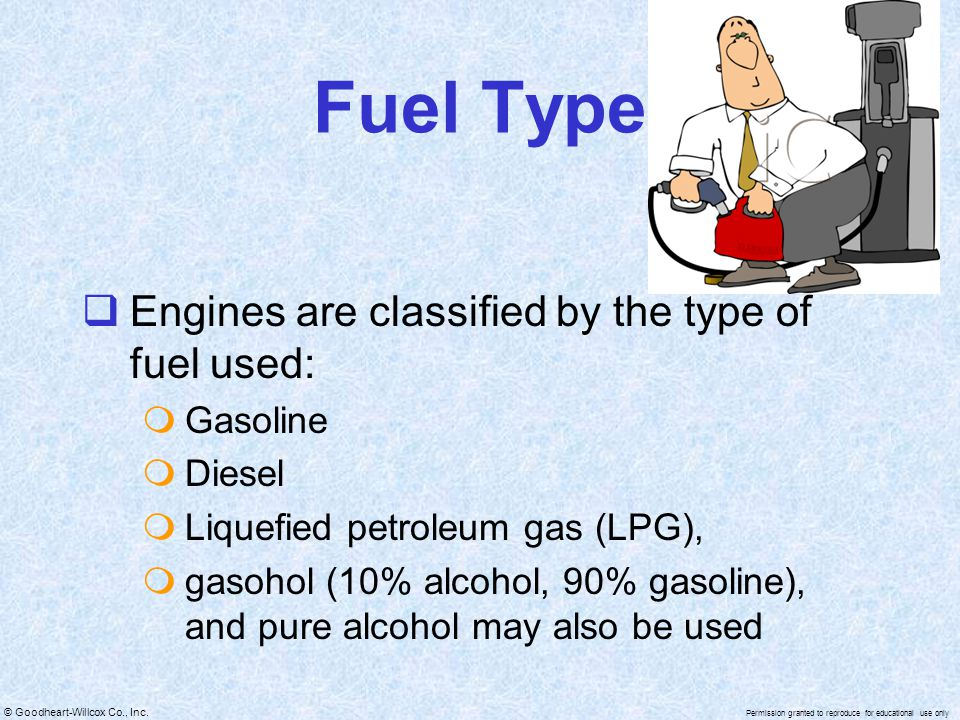 Fuel Type Engines are classified by the type of fuel used: Gasoline