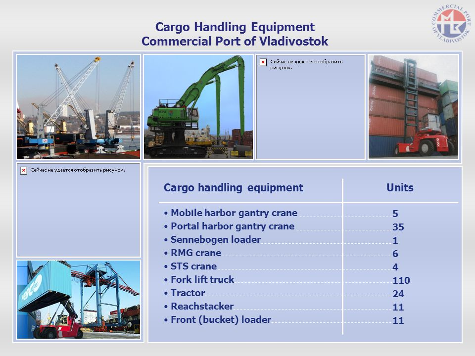 Cargo Handling Equipment Commercial Port of Vladivostok