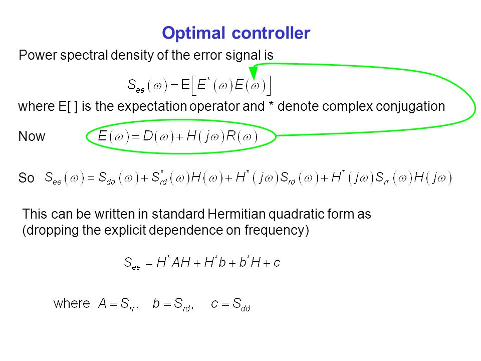 Optimal controller Power spectral density of the error signal is