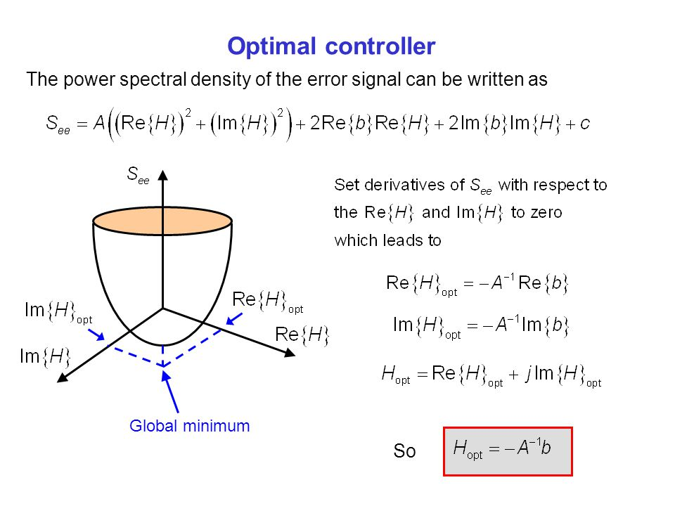 Optimal controller The power spectral density of the error signal can be written as. Global minimum.