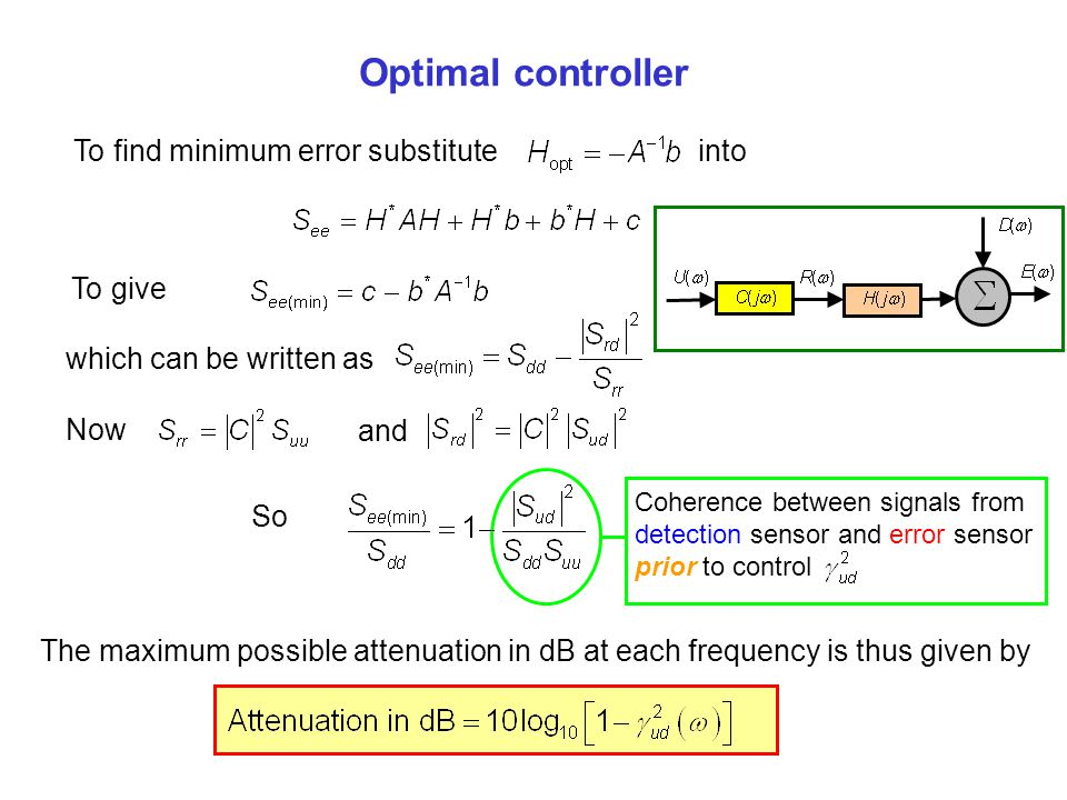 Optimal controller To find minimum error substitute into To give