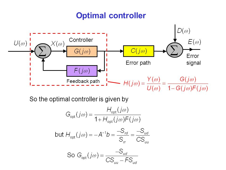 Optimal controller So the optimal controller is given by Controller
