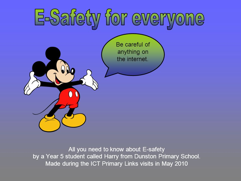 E-Safety for everyone Be careful of anything on the internet.