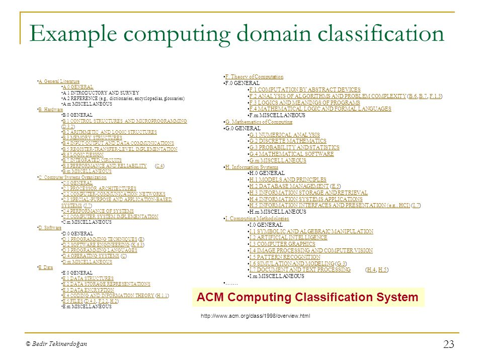 Example computing domain classification