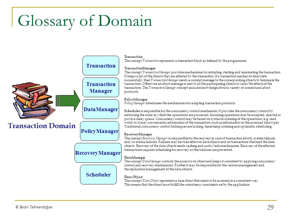 Glossary of Domain Transaction Domain Transaction Transaction Manager