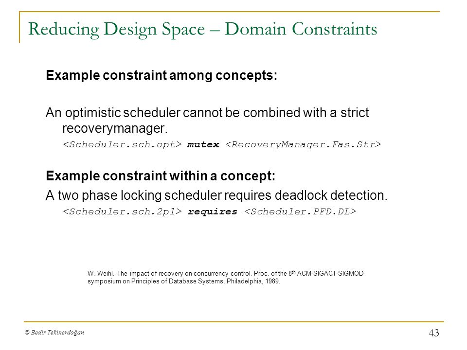 Reducing Design Space – Domain Constraints