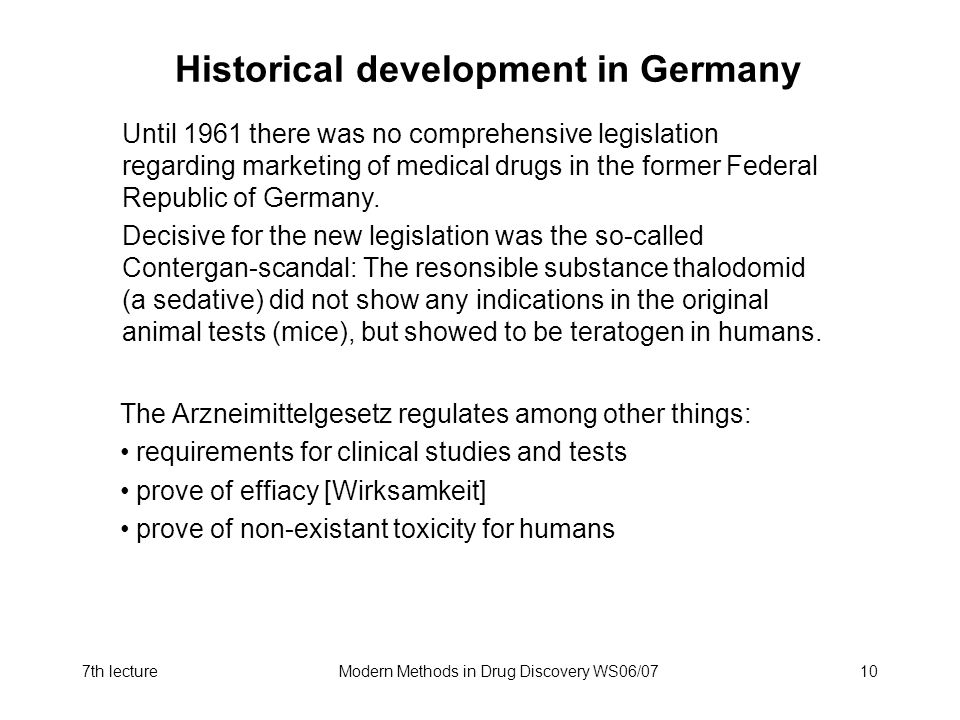 Historical development in Germany