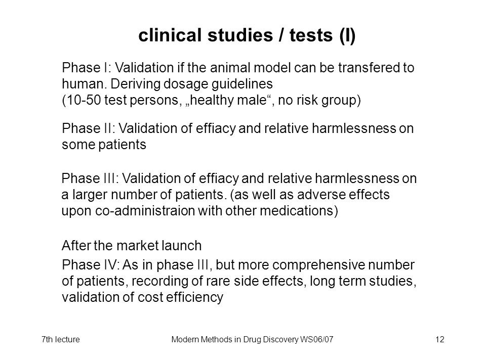clinical studies / tests (I)