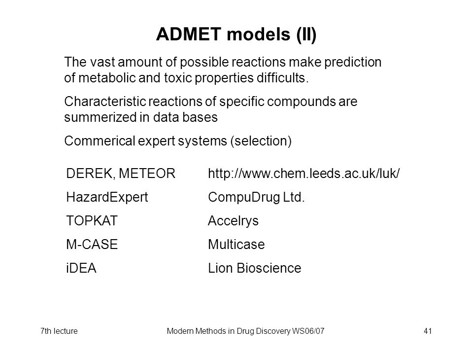 Modern Methods in Drug Discovery WS06/07