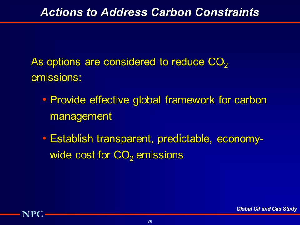 Actions to Address Carbon Constraints