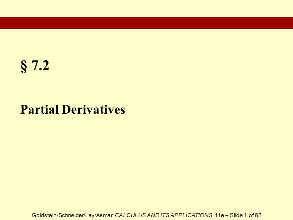 § 7.2 Partial Derivatives
