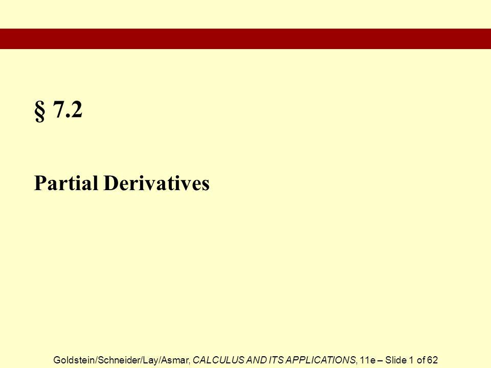 § 7.2 Partial Derivatives