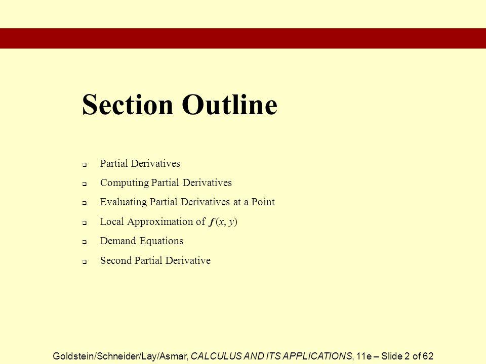 Section Outline Partial Derivatives Computing Partial Derivatives