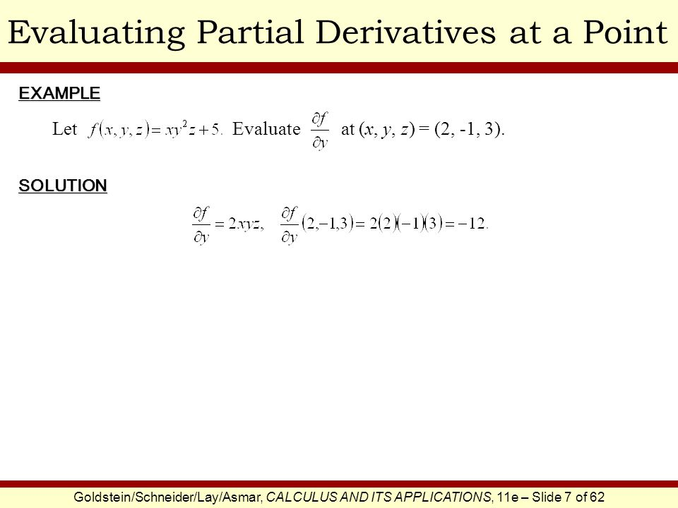 Evaluating Partial Derivatives at a Point