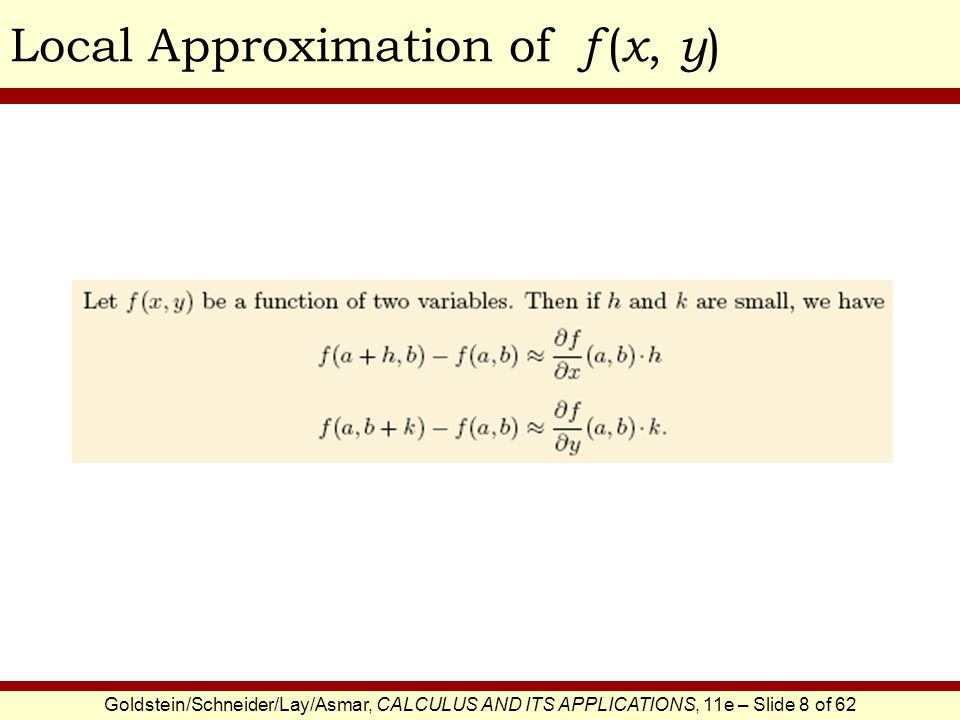 Local Approximation of f (x, y)