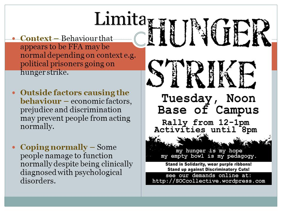Limitations Context – Behaviour that appears to be FFA may be normal depending on context e.g. political prisoners going on hunger strike.