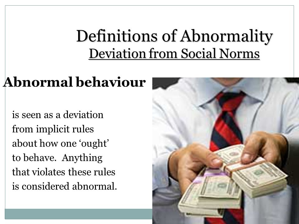 """define abnormality essay Rachel seelman psych test#1 question 1 the four d's are the most popular used way to put somewhat of a definition on the word """"abnormal"""" since there's no."""