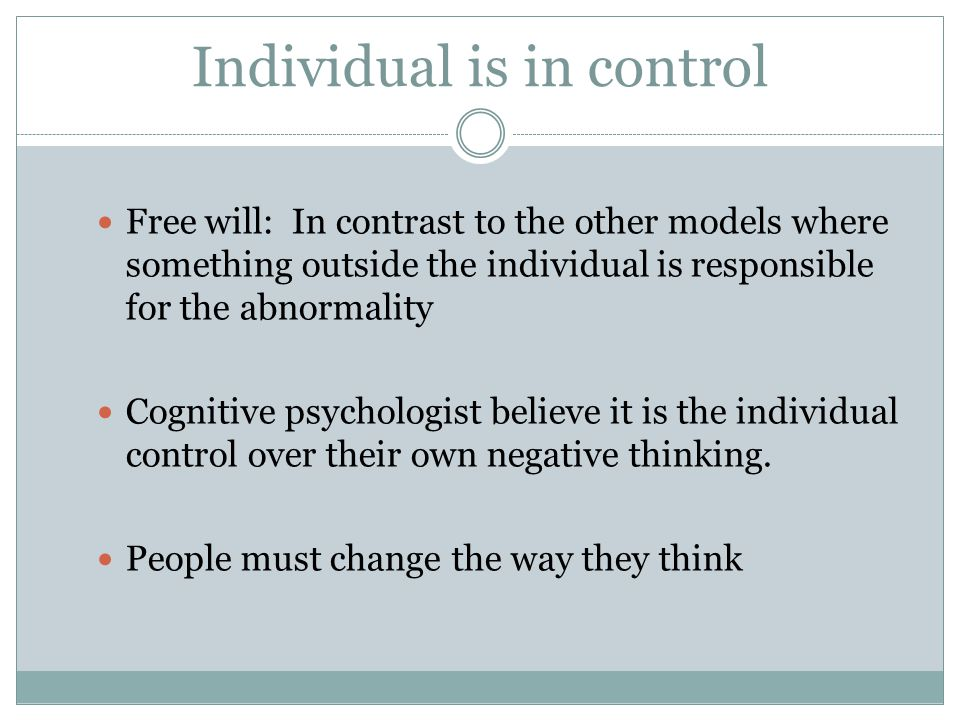 Individual is in control