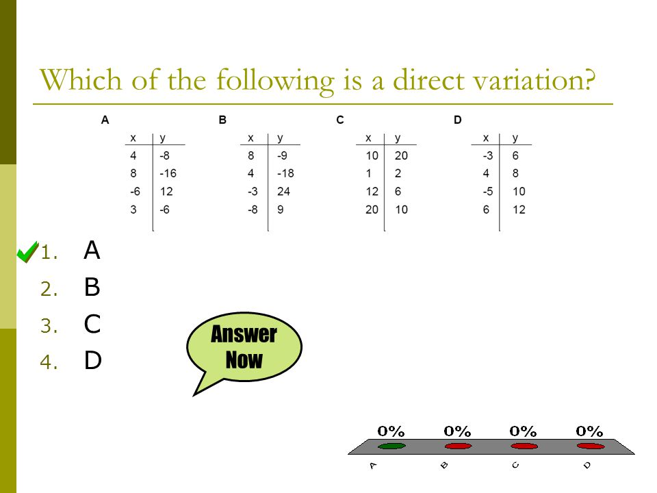 Which of the following is a direct variation