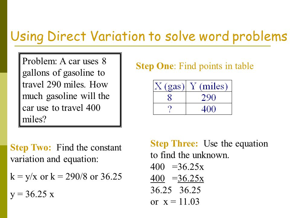 Using Direct Variation to solve word problems