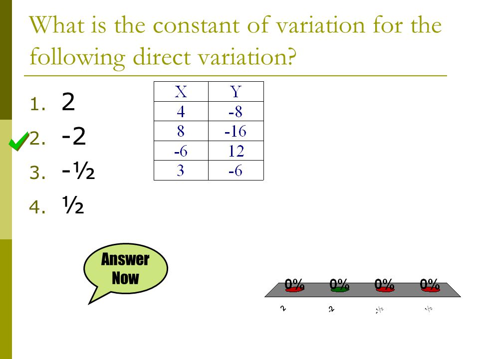 What is the constant of variation for the following direct variation