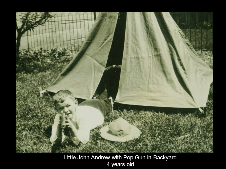 Little John Andrew with Pop Gun in Backyard