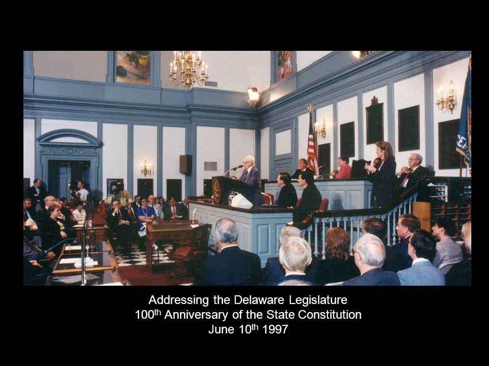 Addressing the Delaware Legislature