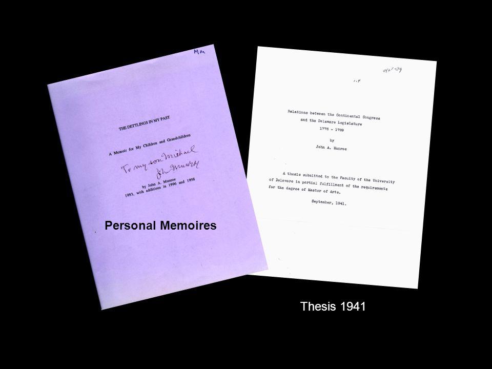 Personal Memoires Thesis 1941