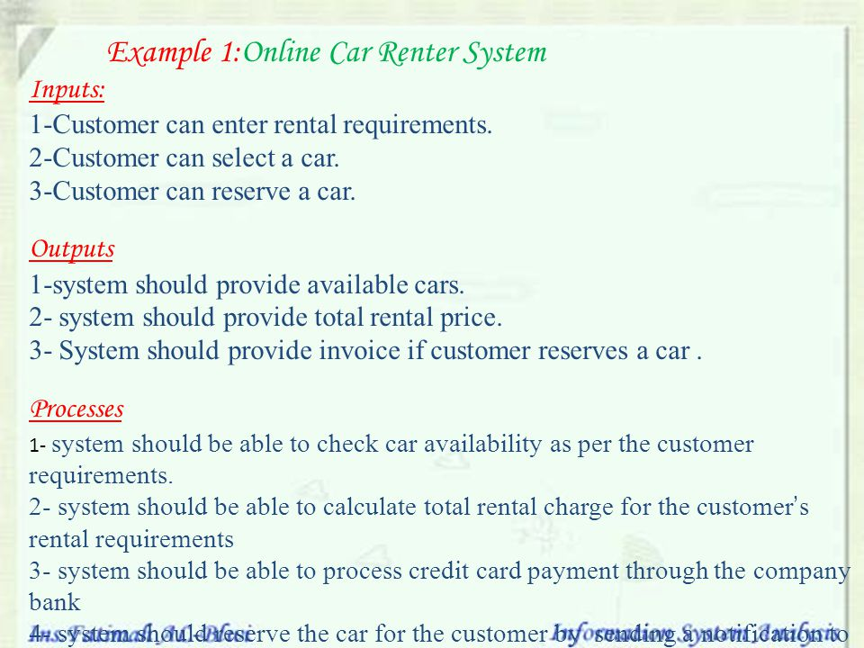 Example 1:Online Car Renter System
